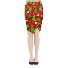Christmas Trees And Gifts Pattern Midi Wrap Pencil Skirt