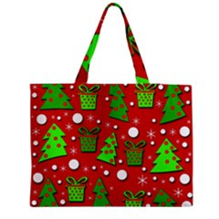 Christmas Trees And Gifts Pattern Medium Zipper Tote Bag