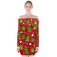 Christmas Trees And Gifts Pattern Long Sleeve Off Shoulder Dress