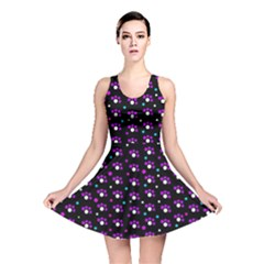 Purple dots pattern Reversible Skater Dress