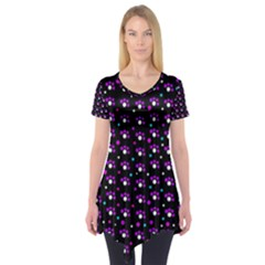 Purple Dots Pattern Short Sleeve Tunic