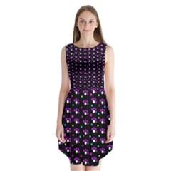 Purple dots pattern Sleeveless Chiffon Dress