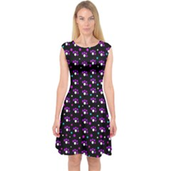 Purple dots pattern Capsleeve Midi Dress
