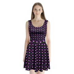 Purple dots pattern Split Back Mini Dress