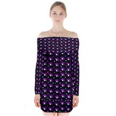 Purple dots pattern Long Sleeve Off Shoulder Dress