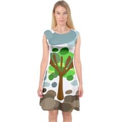 Tree Capsleeve Midi Dress