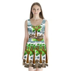 Tree Split Back Mini Dress