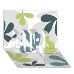 Elegant floral design GIRL 3D Greeting Card (7x5)