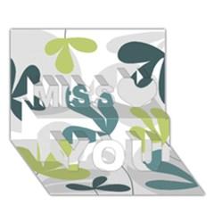 Elegant floral design Miss You 3D Greeting Card (7x5)
