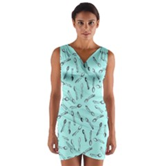 Spoonie Strong Print in Light Turquiose Wrap Front Bodycon Dress