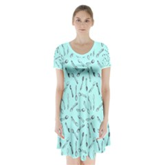 Spoonie Strong Print In Light Turquiose Short Sleeve V Neck Flare Dress