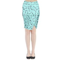 Spoonie Strong Print In Light Turquiose Midi Wrap Pencil Skirt
