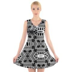 Cyber Celect V Neck Sleeveless Skater Dress