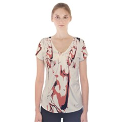39 Sexy Conte Sketch Girl In Room Naked Boobs Nipples Pussy Short Sleeve Front Detail Top