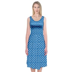 White Polka-Dots on Blue Midi Sleeveless Dress
