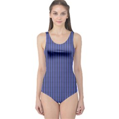 Blue Chain Link Pattern One Piece Swimsuit