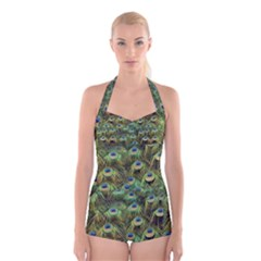 Peacocks Are The Best Boyleg Halter Swimsuit