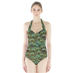 Peacocks Are The Best Halter Swimsuit