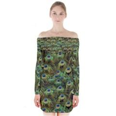 Peacocks Are The Best Long Sleeve Off Shoulder Dress