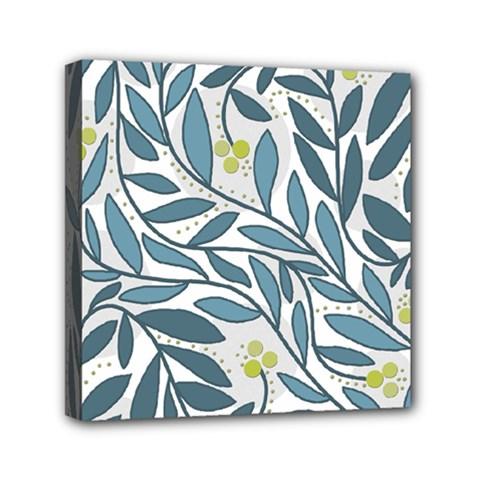 Blue floral design Mini Canvas 6  x 6