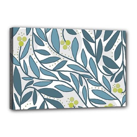 Blue floral design Canvas 18  x 12