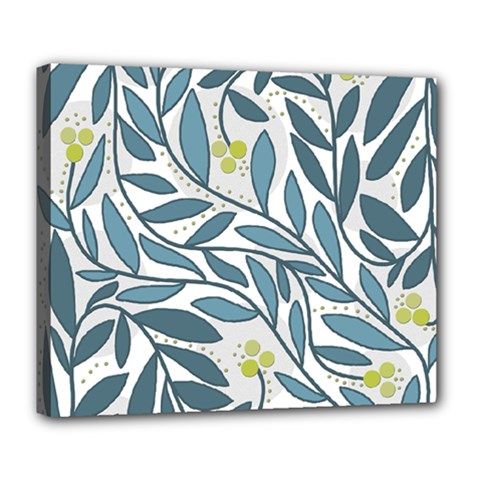 Blue floral design Deluxe Canvas 24  x 20