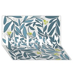 Blue floral design PARTY 3D Greeting Card (8x4)