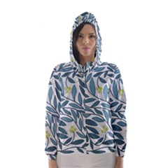 Blue floral design Hooded Wind Breaker (Women)