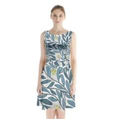 Blue floral design Sleeveless Chiffon Waist Tie Dress