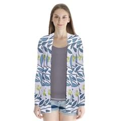 Blue Floral Design Drape Collar Cardigan