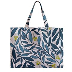Blue floral design Medium Zipper Tote Bag