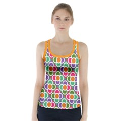 Modernist Floral Tiles Racer Back Sports Top