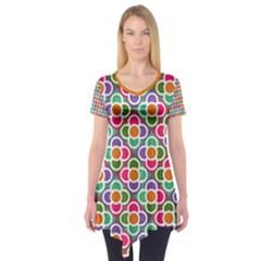 Modernist Floral Tiles Short Sleeve Tunic