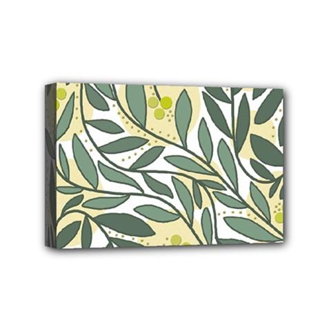Green floral pattern Mini Canvas 6  x 4