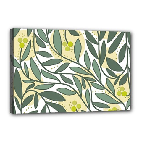 Green floral pattern Canvas 18  x 12