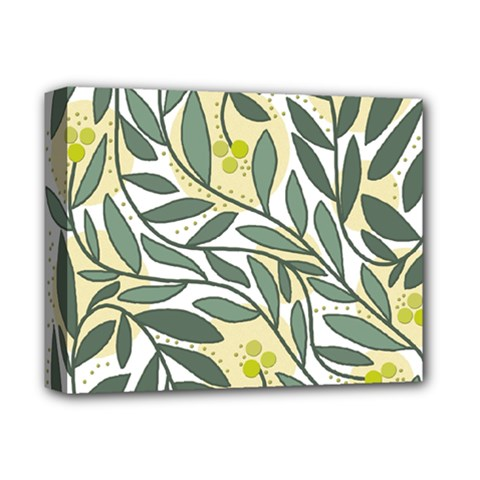 Green floral pattern Deluxe Canvas 14  x 11