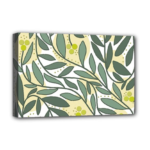 Green floral pattern Deluxe Canvas 18  x 12