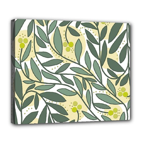 Green floral pattern Deluxe Canvas 24  x 20
