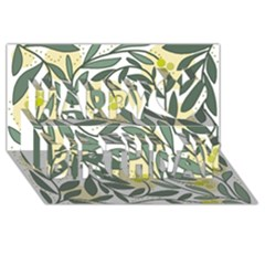 Green floral pattern Happy Birthday 3D Greeting Card (8x4)
