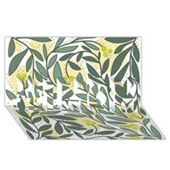 Green floral pattern #1 MOM 3D Greeting Cards (8x4)