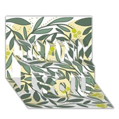 Green floral pattern THANK YOU 3D Greeting Card (7x5)