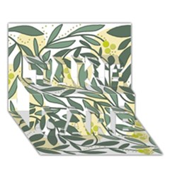 Green floral pattern TAKE CARE 3D Greeting Card (7x5)