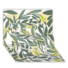 Green floral pattern Get Well 3D Greeting Card (7x5)