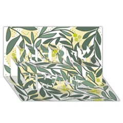 Green floral pattern Merry Xmas 3D Greeting Card (8x4)
