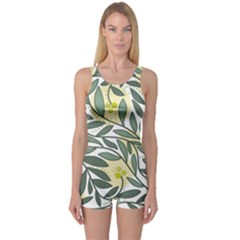 Green floral pattern One Piece Boyleg Swimsuit