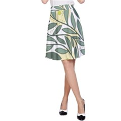 Green floral pattern A-Line Skirt