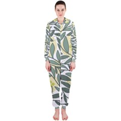 Green floral pattern Hooded Jumpsuit (Ladies)