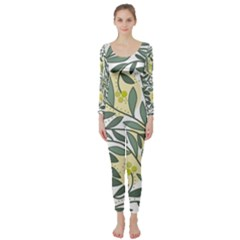 Green floral pattern Long Sleeve Catsuit