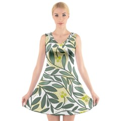 Green floral pattern V-Neck Sleeveless Skater Dress