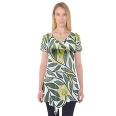 Green Floral Pattern Short Sleeve Tunic